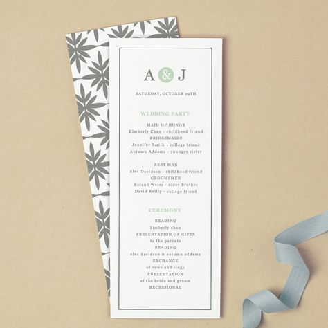 Printable Wedding Program Template  Instant Download  Mint Type