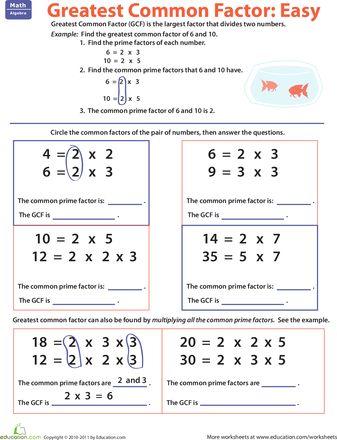 Greatest Common Factor: Easy | Homeschool math, Elementary ...