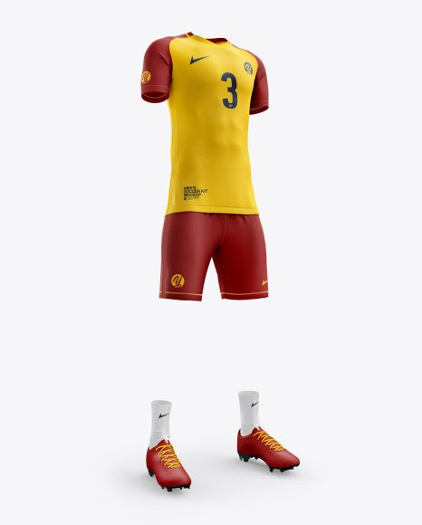 Download Men S Full Soccer Kit Mockup Hero Shot In Apparel Mockups On Yellow Images Object Mockups Shirt Mockup Clothing Mockup Soccer Kits