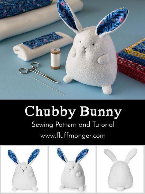 Chubby Bunny sewing pattern and tutorial by Fluffmonger — organic stuffed bunny kits, Easter crafts, bunny crafts, Spring DIY sew einfach clothes crafts for beginners ideas projects room Bunny Crafts, Easter Crafts, Rabbit Crafts, Sewing Toys, Sewing Crafts, Diy Crafts, Sewing Kit, Sock Crafts, Decor Crafts