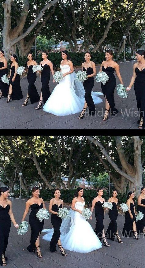 Mismatched Black Sweet Heart Front Split Floor Length Bridesmaid Dresses , – The little thins – Event planning, Personal celebration, Hosting occasions