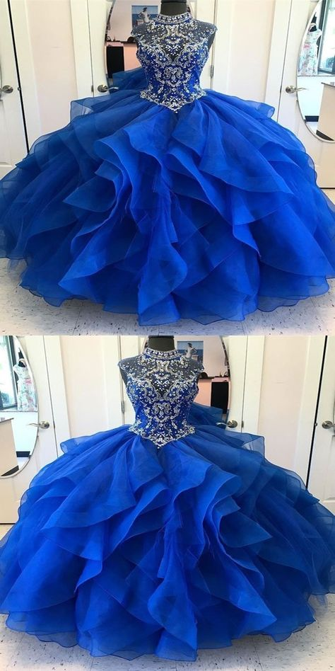14f1580b8b4 Glamorous A-Line Royal Blue High Neck Organza Sleeveless Long Prom Dresses  With Beading