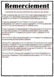 Exemple Remerciement Rapport De Stage Word Remerciement