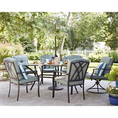 Awesome Garden Treasures Cascade Creek 7 Piece Dining Set Cascade Creek 7 Piece  Dining SetSet Includes: (2) Cushioned Steel Swivel Patio Dining Chair: 22.7u2026