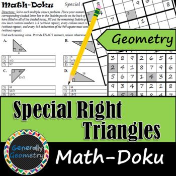 Special Right Triangles Math-Doku