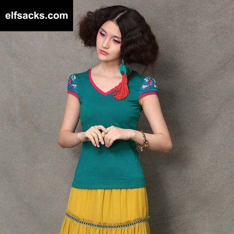 Womens  V-Neck Short Sleeve Tshirt Green