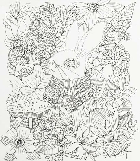 Rabbit Amongst Flowers Colouring Page Coloring Books Animal Coloring Pages Cute Coloring Pages