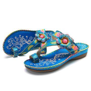 cd1eef020c6 SOCOFY Bohemian Genuine Leather Adjustable Hook Loop Comfortable Clip Toe  Sandals  sandals  shoes