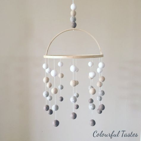 The Natural Felt-Ball Mobile by ColourfulTastes on Etsy