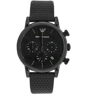 f0b5fcf6190 Emporio Armani AR1737 Classic Black Chronograph Men s Leather Watch -New in  Box