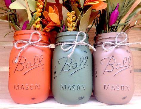 PICK 3 Fall Mason Jars Autumn Home Decor Fall Decor Fall | Etsy