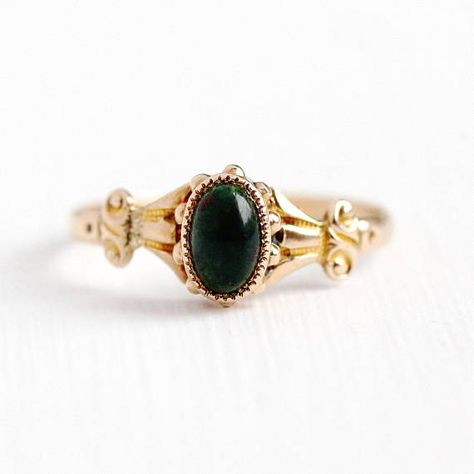 Antique Bloodstone Ring 10k Rosy Yellow Gold Heliotrope