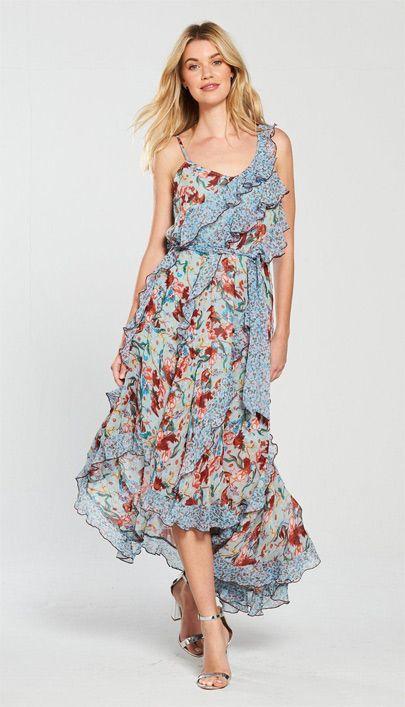 bfadcc748a9 Gianni Bini Mac Floral Chiffon Tiered Midi Dress  Dillards