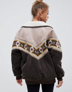 Pull Bear Pull Bear Cord And Borg Mix Jacket With Pattern Winter Fashion Outfits Bear Outfits Fashion Outfits