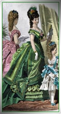 Victorian Bustle Dress in Green Silks- I have been feeling an early bustle coming on...