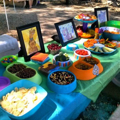 Snacks and desserts at a Scooby Doo Party #Scooby #party Some people are so smart! Why did we not think to have Scooby snacks!