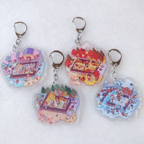Animal crossing acrylic keychains 4 seasons island inspired Spring🌸 Summer🦋 Autumn🍁 Winter❄️ Which one is your favorite 🏝️?