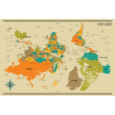 Best 25 new world map ideas on pinterest all world map home langley street upside down new world map graphic art on wrapped canvas size 12 h x 18 w x 15 d sciox Images
