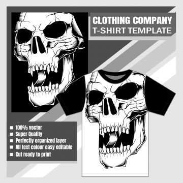 Download Mock Up Clothing Company T Shirt Template With Skull Apparel Template Casual Png And Vector With Transparent Background For Free Download Clothing Company Shirt Template Company T
