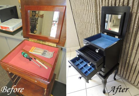 Upcycled Jewelry Armoire. Added General Finishes Black Gel stain (http://bit.ly/1CM8hZ1), new flocking (http://bit.ly/1tFqoAS), and new pull & hinge hardware.(http://bit.ly/1nx6Z2o)