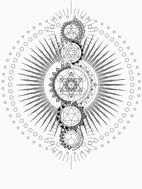 'Sacred Geometry Metatron's Cube Transcendence' T-Shirt by johnnet Sacred Geometry Meanings, Sacred Geometry Patterns, Sacred Geometry Tattoo, How To Draw Sacred Geometry, Geometric Mandala Tattoo, Tattoos Mandala, Geometric Art, Ethno Tattoo, Mutter Erde Tattoo