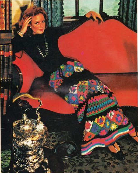 Granny squares... in awesome pieces of clothing 1960's and 70's style, and some jackets and hoodies made from granny square afghans.