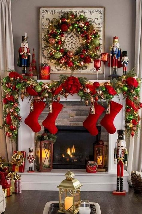 Here are 100 Best Christmas Mantel Decorations. Take inspiration for the perfect Christmas Fireplace decor, that include various themes & traditional styles Decoration Christmas, Christmas Mantels, Noel Christmas, Xmas Decorations, Rustic Christmas, Christmas Wreaths, Christmas Colors, Christmas Fireplace Decorations, Mantle Decorating