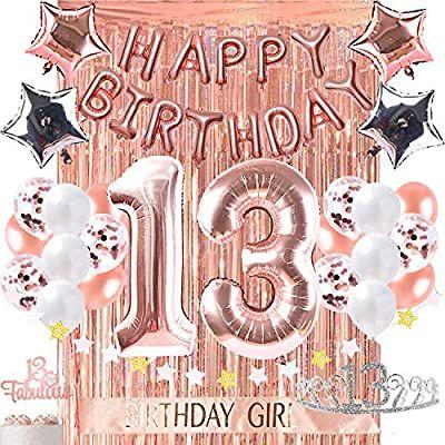 Amazon Com 13th Birthday Decorations Photo Props Birthday Party Supplies 13 Cake T Happy Birthday Foil Balloons Birthday Decorations 18th Birthday Decorations