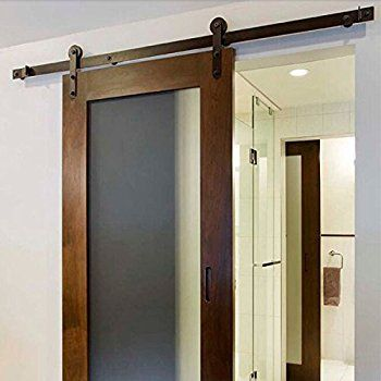 Amazon Com Tms 6ft Black Country Barn Wood Steel Sliding Door