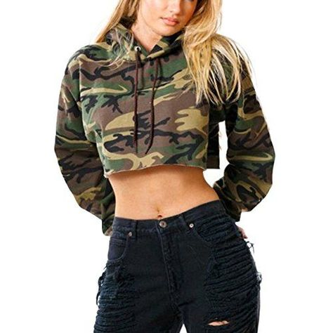Honey GD Women's Camouflage Long Sleeve Drawstring Hooded Crop Top Our size is China size, smaller than Asia size. Please kindly check your measurements with our SIZE DETAIL to choose a correct size before you buy.