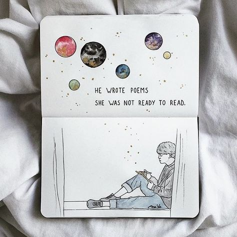 """@kawaiiliving on Instagram: """"""""He wrote poems...she was not ready to read."""" ✨ ⠀⠀⠀⠀⠀⠀⠀⠀⠀ Will YOU be ready? 🤔 ⠀⠀⠀⠀⠀⠀⠀⠀⠀ This quote & beautifully drawn spread was created…"""""""
