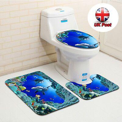 Dolphin Bathroom And Toilet Mat Seat Cover Toiletseat Nemo Bath Rug Non Slip Beach Bathroom Rugs Pedestal Rug Bath Mat