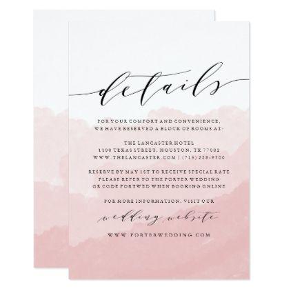 Watercolor Mist Wedding Details Card Zazzle Com Wedding Details Card Wedding Invitations Uk Wedding Details