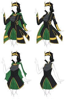 Female Loki costume idea - Not so much the dressy/skirt idea but I've always love the style of Loki's shirt. If I could do this with pants,honestly I'd love to cosplay as a female Loki :)