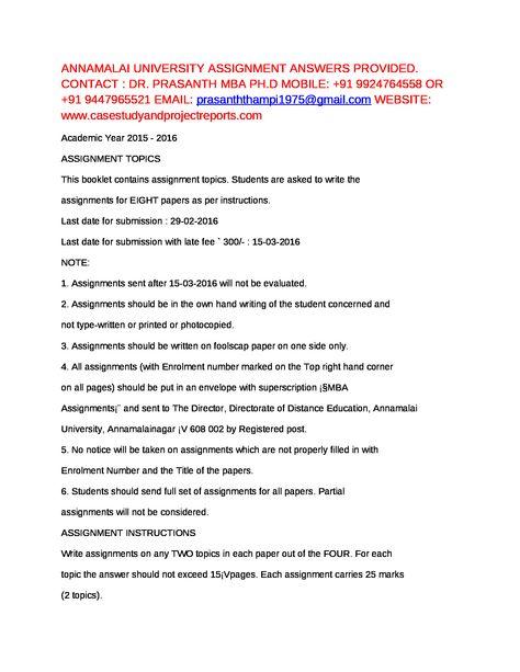 ANNAMALAI UNIVERSITY ASSIGNMENT ANSWER PROVIDED MOB +91 9447965521 ...