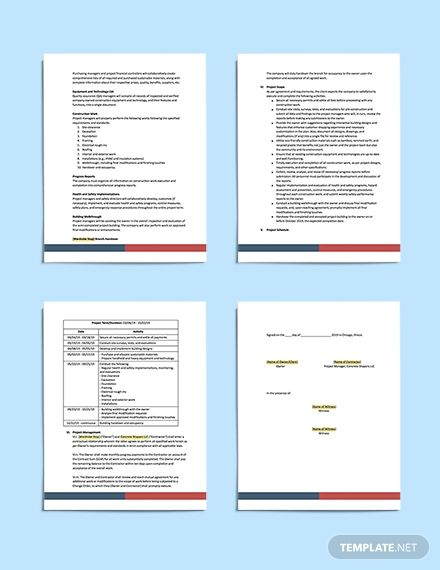 Commercial Construction Scope Of Work Template Word Doc Apple Mac Pages Google Docs Commercial Construction Templates Word Doc