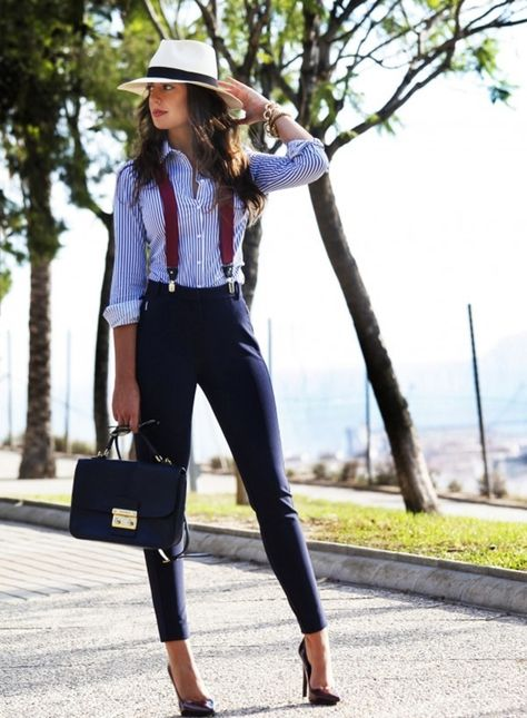I love the elements of vintage and menswear in this outfit! I love pinstripes, especially on button ups. I normally don't like business pants but this outfit makes them look so much less stuffy and much more stylish!