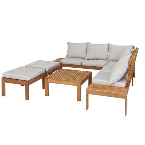 Home 6 Seater Wooden Corner Sofa Set