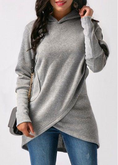 Asymmetric Hem Long Sleeve Solid Grey Hoodie |