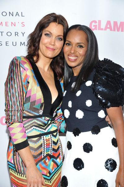 Actors Bellamy Young and Kerry Washington attend the Women Making History Awards at The Beverly Hilton Hotel.