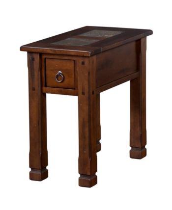 Santa Fe 26 H Dark Chocolate Chair Side Table Slate Top Brown