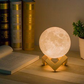 Tsv 3d Printed Moon Lamp Rechargeable Lunar Night Light Dimmable Touch Control Multiple Brightness Settings With Wooden Stand Walmart Com In 2020 Moon Light Lamp Lamp Unique Lamps