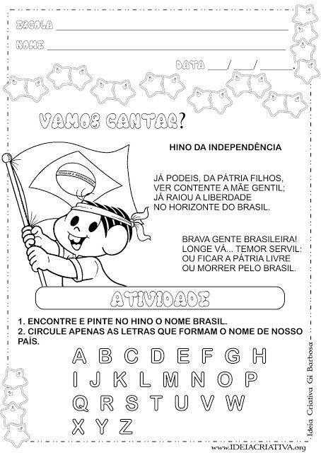 Atividade 7 De Setembro Independencia Do Brasil Educacao Infantil