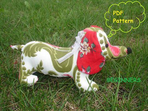 Dachshund Stuffed weiner puppy dog SEWING PATTERN PDF. $7,00, via Etsy.