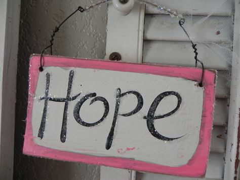 Hope Sign Pink and Glitter Breast Cancer by signsandsalvage,