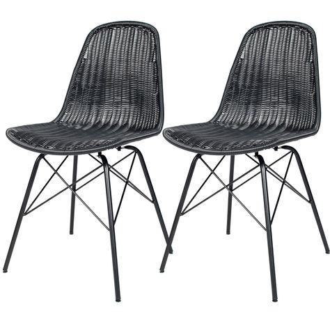 Chaise Tiptur En Resine Tressee Noire Lot De 2 Chaise Structure Metal Et Mobilier De Salon