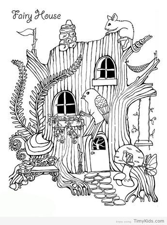 Fairy House Coloring Pages In 2020 House Colouring Pages Bird Coloring Pages Cute Coloring Pages