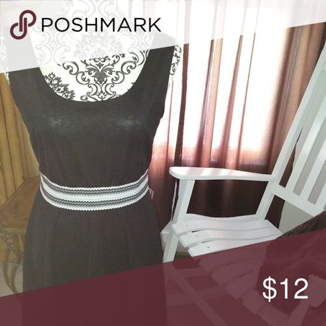 Jon & Anna Black with white stripe detail dress Tank dress.  Super cute.  Worn once.  Euc. Slight stretch. Jon & Anna Dresses