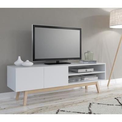 Home Meuble Tv Scandinave Laque Blanc Pietement En Bois Massif
