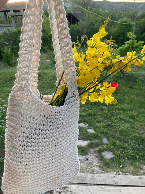 Knitted Balaclava, Crochet Cord, Full Face Mask, Summer Bags, Market Bag, Winter Day, Knitted Bags, Crochet Clothes, Hand Knitting